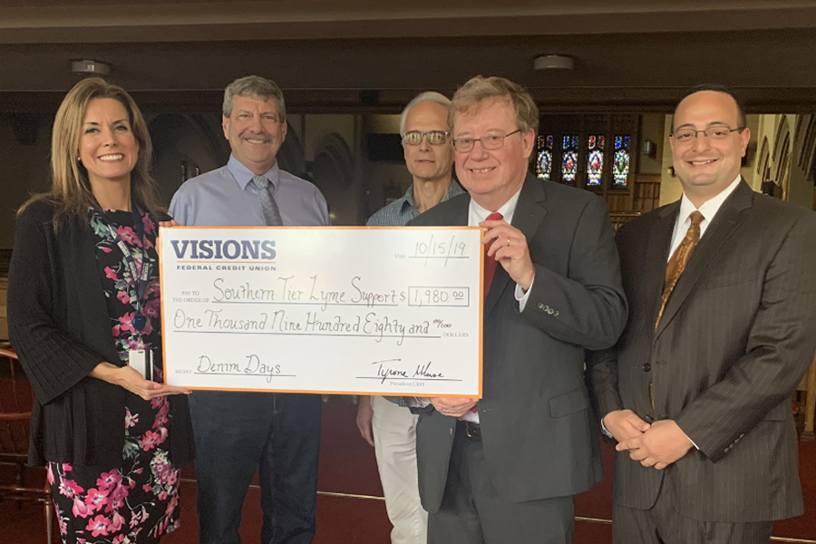 Southern Tier Lyme Support Receives Check from Visions Federal Credit Union